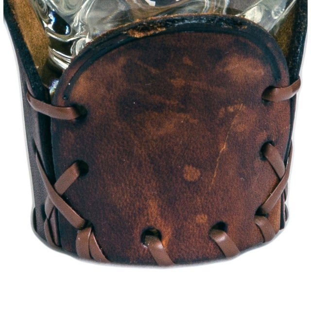 Vintage Glass and Leather Western Barware Set - 8 - Image 5 of 5