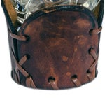 Image of Vintage Glass and Leather Western Barware Set - 8