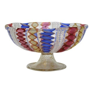 Vintage Venetian Zanfirico Multi-Colored Glass Compote Bowl by Salviati Millennial Pink