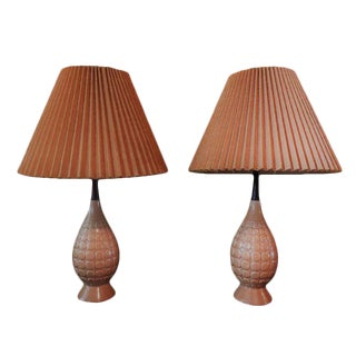 Mid-Century Modern Ceramic Beige Lamps - A Pair