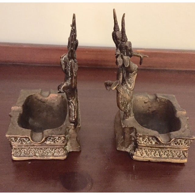 Brass Thai Asian Dancing Ganesh Ashtrays - A Pair - Image 3 of 7