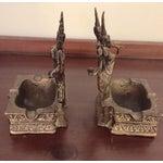 Image of Brass Thai Asian Dancing Ganesh Ashtrays - A Pair