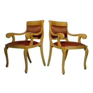 Burlwood Goatskin Armchairs - Set of 2
