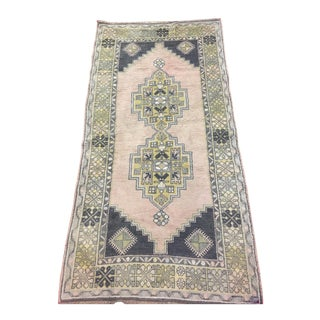 "Cream Geometric Turkish Rug - 3'9"" x 7'2"""