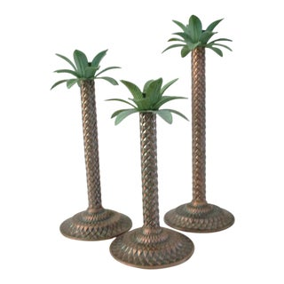 Vintage Palm Tree Design Candle Holders - Set of 3