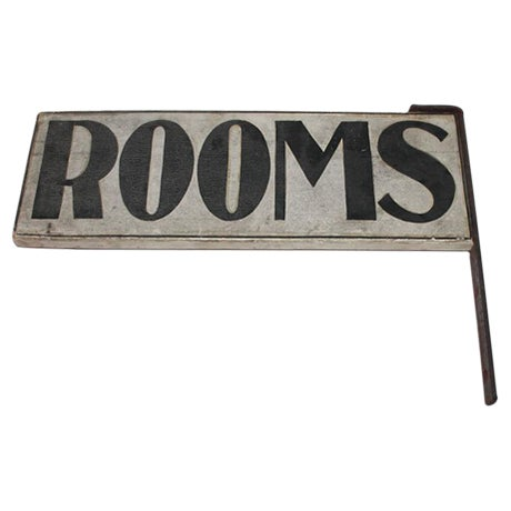 "19th Century Original Painted ""Rooms"" Sign with Iron Bracket - Image 1 of 5"