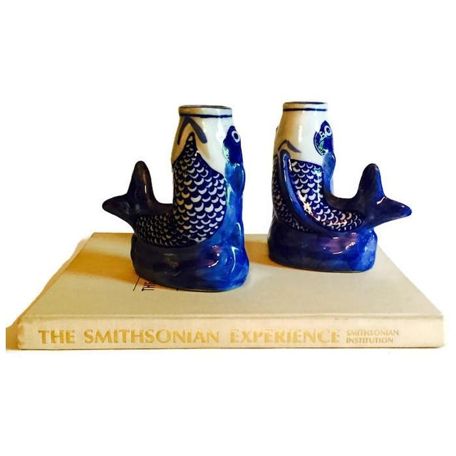 Cobalt Blue Ceramic Koi Fish Bud Vases - Pair - Image 3 of 6