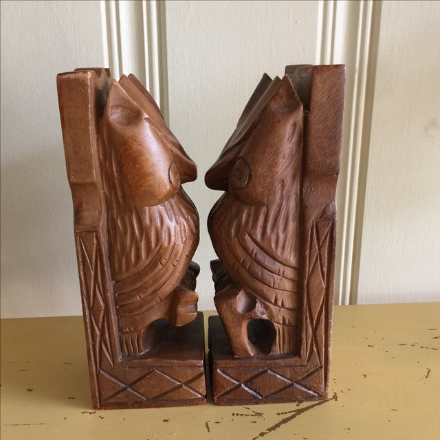 Vintage Rustic Carved Owl Bookends - A Pair - Image 5 of 10