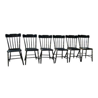 Antique 1820 Windsor Plank Seat Chairs - 6
