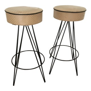 Vintage Atomic Hairpin Bar Stools -- A Pair