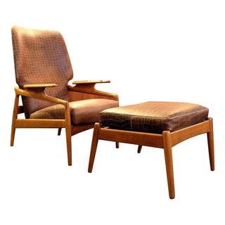 Danish Modern Lounge Chair with Ottoman