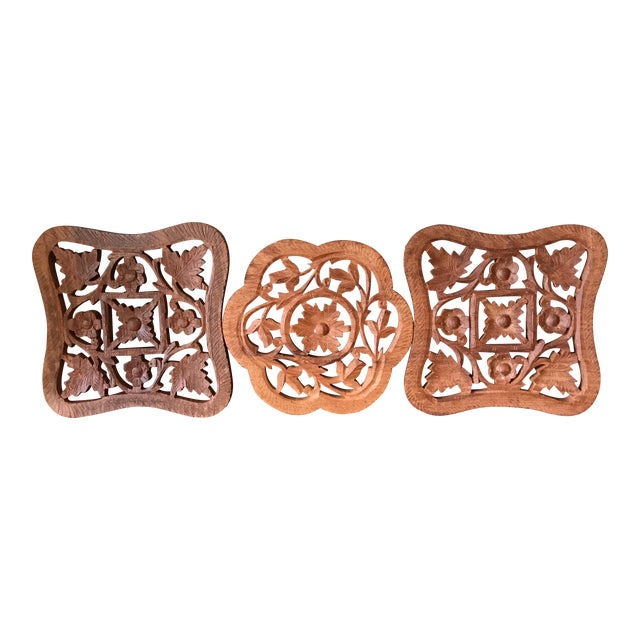 Hand-Carved Trivets - Set of 3 - Image 1 of 10