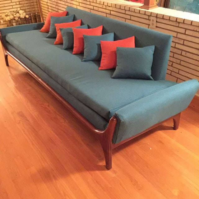 Reupholstered Danish Modern Wing Arm Sofa - Image 8 of 10