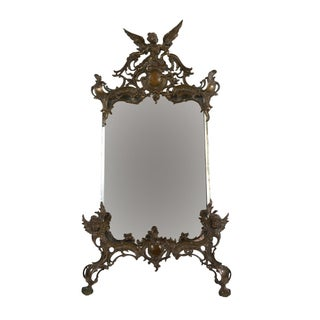 19th C. Art Nouveau Table Top Bronze Mirror