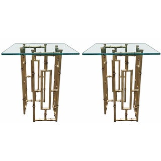 Gilded Faux-Bamboo Side Tables - A Pair