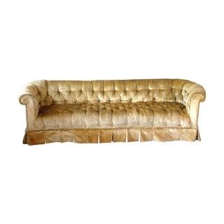 Golden Velvet Tufted Chesterfield Sofa