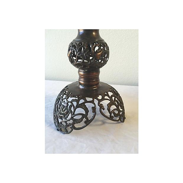 Antique Scrolled Metal Lamp with Silk Grey Shade - Image 5 of 5