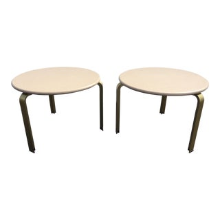 Vintage Matteograssi Gold Metal & Corian Side Tables - A Pair