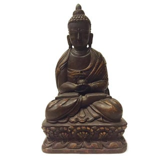 Vintage Carved Buddha Tall Temple Statue