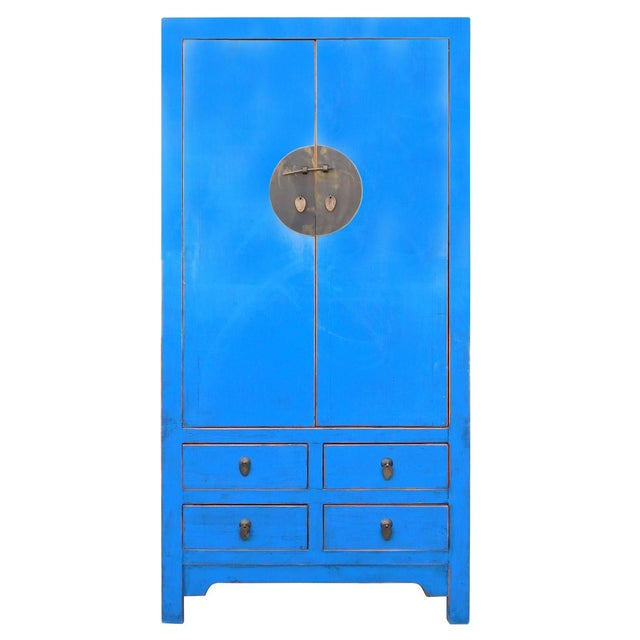 Image of Tall Chinese Armorie in Rustic Blue