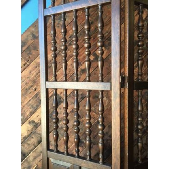 Walnut Mid Century Room Divider w/Carved Spindles - Image 6 of 8