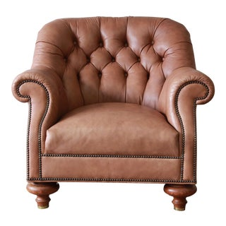 Baker Furniture Brown Leather Chesterfield Club Lounge Chair