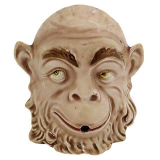 "Antique Majolica ""Smoker's Whimsy"" Monkey"