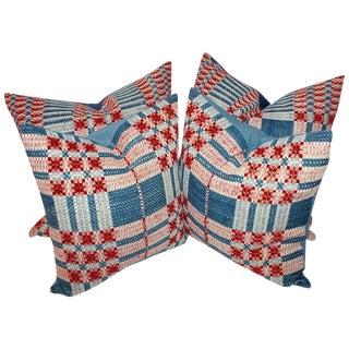 19th Century Hand-Woven Jacquard Coverlet Pillows, Pair