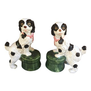 Majolica Style Staffordshire Dogs on Tufted Pillows - A Pair