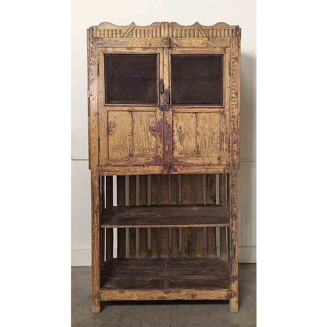 Image of Vintage Yellow Cupboard with Open-Bottom Shelving