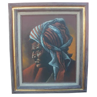 "Vintage ""Man in Turban"" Framed Painting"