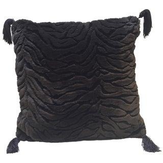 Tiger Print Sculpted Black Fur Pillow