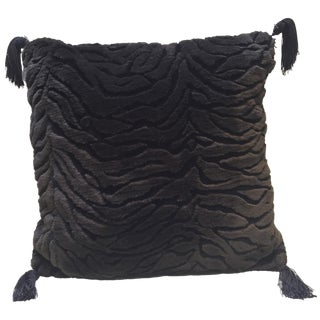Tiger Print Sculpted Black Fur Pillow
