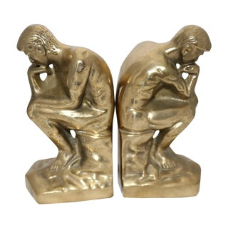 "Mid-Century ""Thinker ""Brass Bookends - A Pair"