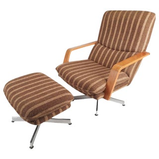 Mid-Century Teak & Chrome Swivel Lounge Chair With Ottoman