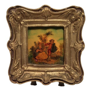 Miniature Hand Painted Tile in Gold Gilded Frame