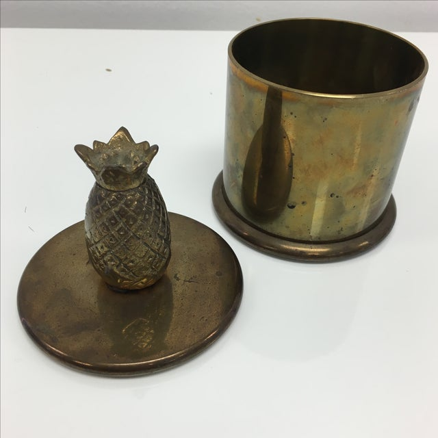 Image of Vintage Brass Round Box With Pineapple Lid