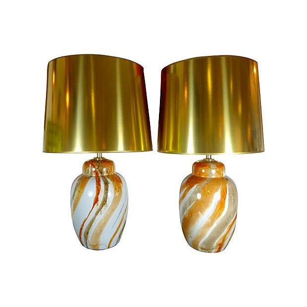 Ceramic Table Lamps With Custom Shades - Pair - Image 1 of 5