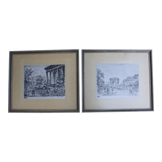 Pair of Framed Mid-Century Parisian Street Scenes Etched on Silk by artist Maurice L. Legendre