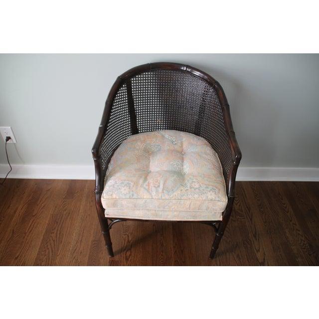 Faux Bamboo Amp Cane Barrel Back Chair Chairish