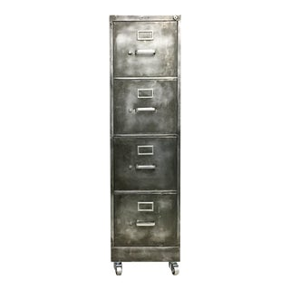 Industrial Brushed Steel File Cabinet