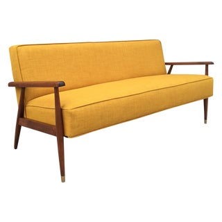 Yellow Midcentury Walnut Sofa