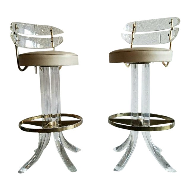 Vintage Lucite & Brass Barstools- A Pair - Image 1 of 6