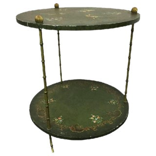 BEAUTIFUL BRASS ITALIAN FAUX BAMBOO SIDE TABLE DECORATED WITH MONKEYS