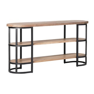 Acacia Wood & Iron Tiered Console Table