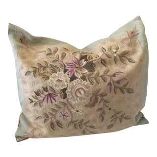 Wool Crewel Work Floral Pillow