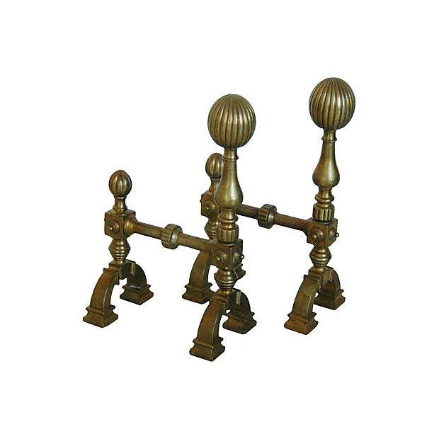 Antique English Brass Andirons - A Pair - Image 4 of 7