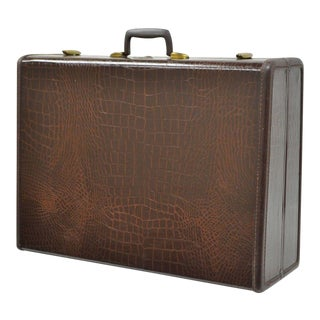 Samsonite Brown Leather Embossed Faux Alligator Suitcase