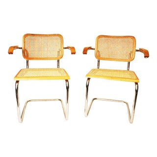Marcel Breuer Caned Arm Chairs - A Pair