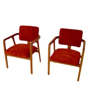 George Nelson Maple & Orange Suede Chairs - A Pair